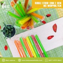 Bubble Straw 12MM X 18CM Mix Wrapping Film