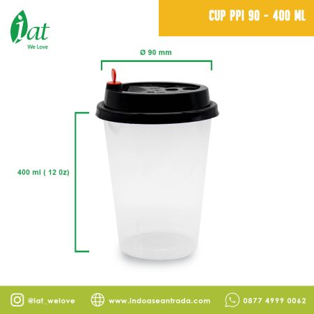 Beverage Cups PP Injection Cup 12/14 oz (D90 mm - 400 ml)  1 cup_black_cup_ppi_90_400ml