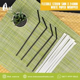 Flexible Straw 5MM X 240MM White Paper Wrapped