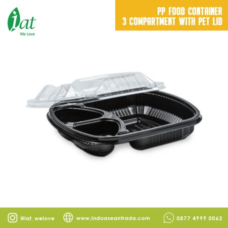 Take away dishes PP Food Container 3 Compartment with PET Lid 1 pp_food_container
