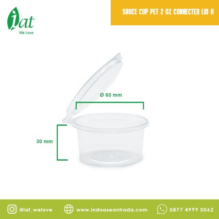 Take away dishes Sauce cup 2 oz Connected Lid (60 ml) 1 sauce_cup_pet_2_oz_connected_lid_h