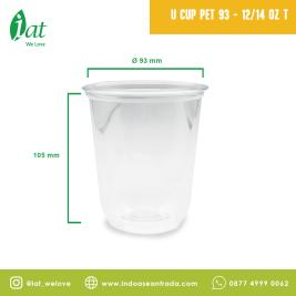 PET Round Shape U Cup 12 oz D93 mm  414 ml